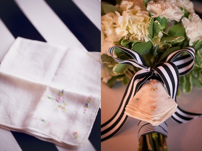 18 Bridal bouquet with white and black striped ribbon with hankercheif