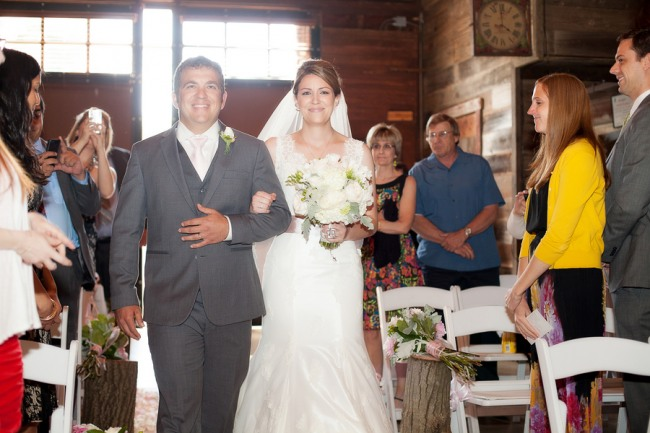 Bride and Groom walking down aisle at Romantic Rustic Winery Wedding in Northern California
