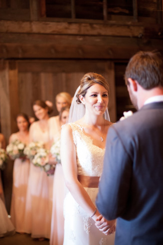 Bride and groom at wedding ceremony in Northern California winery
