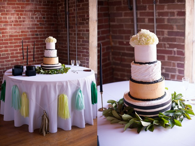 20 4 tier black and white wedding reception cake