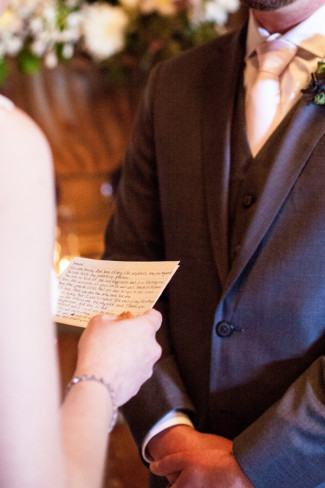 Winery Wedding in Northern California - bride reading vows