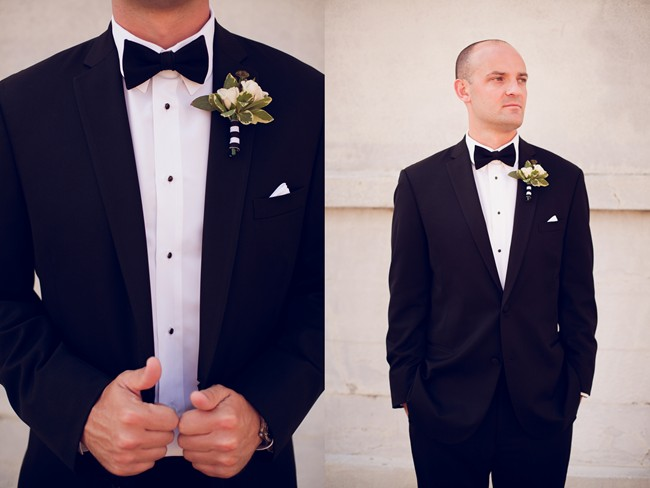 23 groom in tux and white and green boutiniere