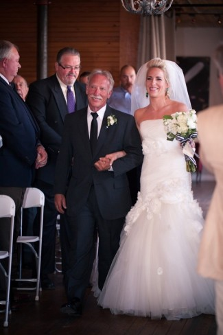 25 bride walking down aisle with father in mermaid dress