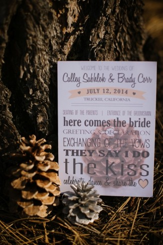 Wedding reception in Sierra Nevada mountains pine cone themed wedding invitation
