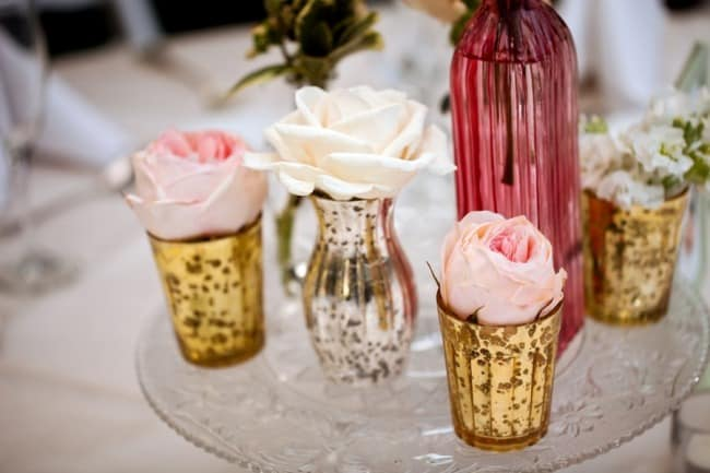 32 La Caille Weddings and Events wedding reception centerpieces gold and pink vases with roses