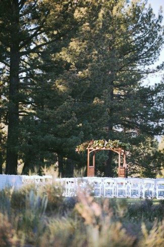 35 ourdoor wedding reception in Sierra Nevada mountains ceremony location