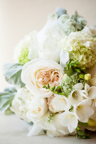 White flower bouquet on its side