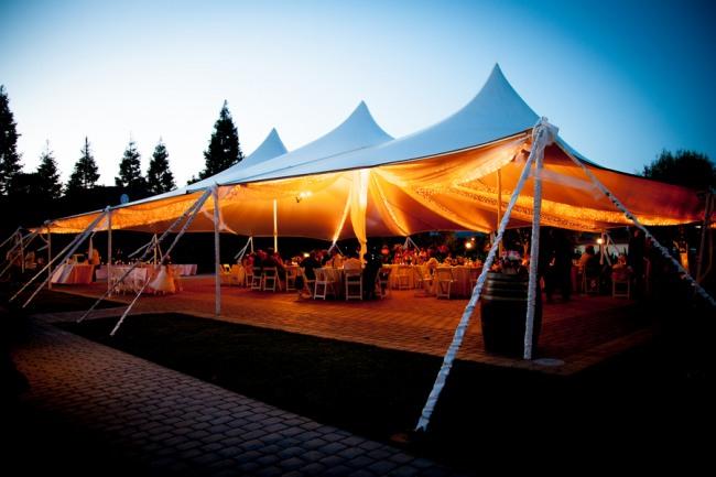 Guglielmo Winery wedding tent at night