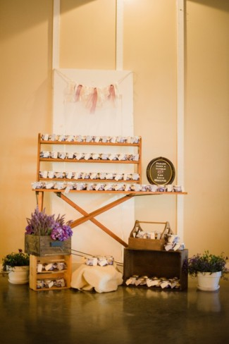 6 Green Villa Barn & Gardens, Oregon wedding reception lavender candle favors