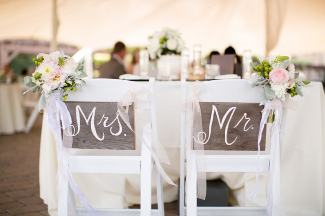 Mr and MRS chair backs with florals for wedding at Guglielmo Winery wedding