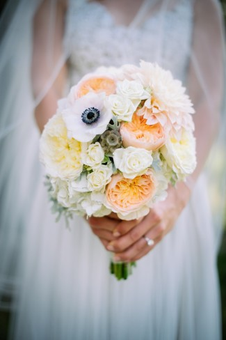 peach white yellow poppi wedding bridal bouquet