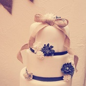 Burlap bow wedding cake topper