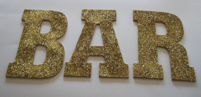 DIY Glitter letters project spelling bar