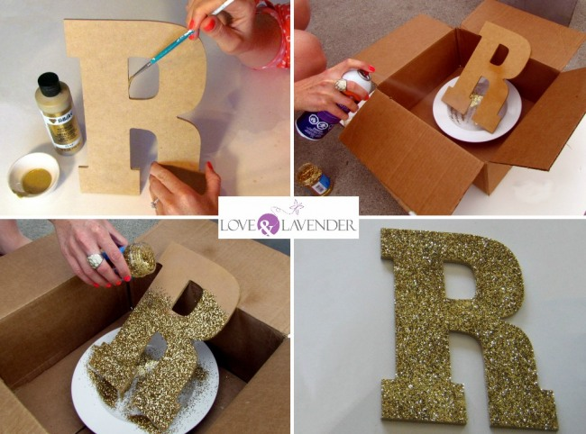 how to diy glitter letters for your wedding