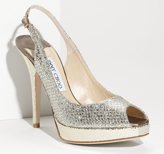 Jimmy Choo Nova Glitter-Covered Leather Peep-Toe Pumps