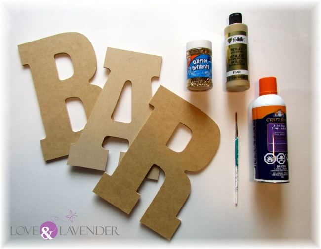 Supplies for DIY glitter letters