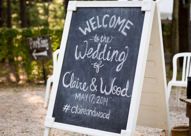 Welcome wedding chalkboard sign at the reserve at oak bowery bride wearng tara keely wedding dress