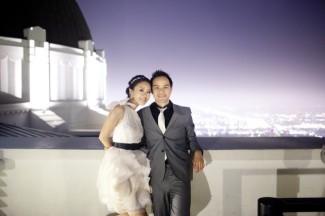 Loveley couple outdoors at LA observatory
