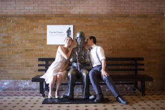 Observatory Engagement Shoot couple with Charlie Chaplin