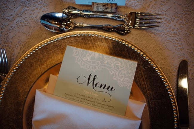 gold charger with Minted menu