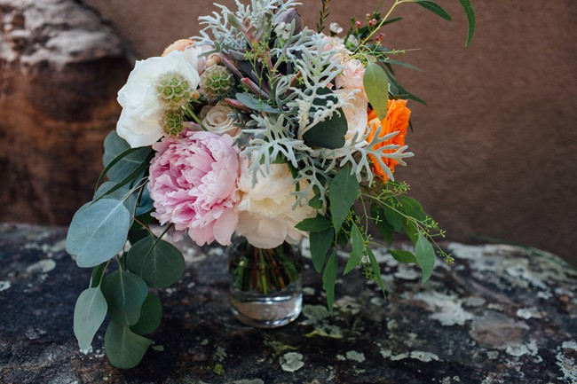 pink and orange peonies bridal bouquet