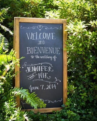 Welcome wedding chalkboard sign with wood frame