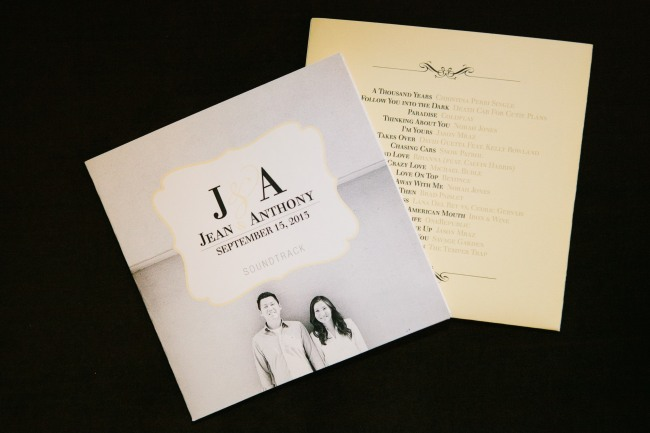 Bride and groom sounds track wedding favor at Arctic Club Hotel Wedding