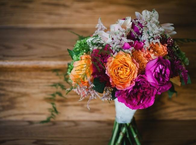 Purple, orange white and green bridal flower bouquet
