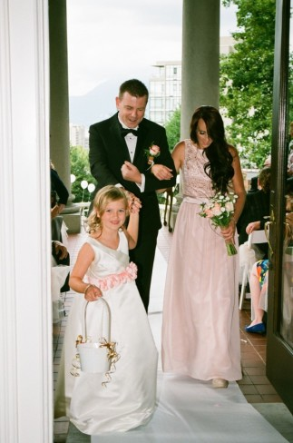 bridesmaid gown shopping - flower girl and bridesmaid recessional at Hycroft