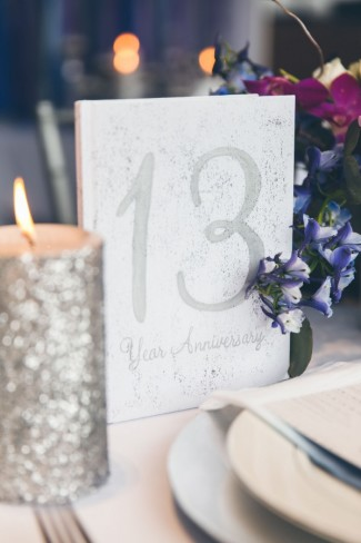 Silver sparkle table number