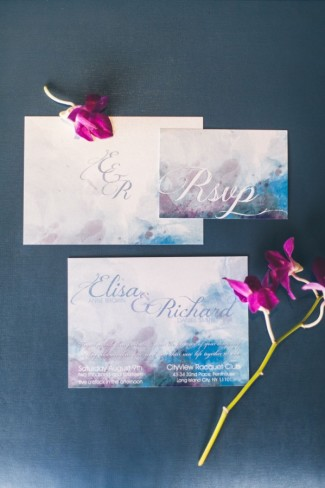 Water color blue mauve and white wedding invitations and rsvp by Designed with Amore
