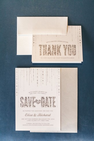 White save-the-date with glitter writing by Designed with Amore