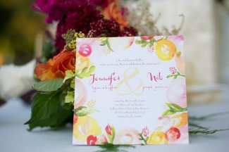 Orange, purple and green floral water colored wedding invitation