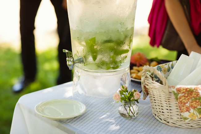 outdoor drink dispenser with lemonade
