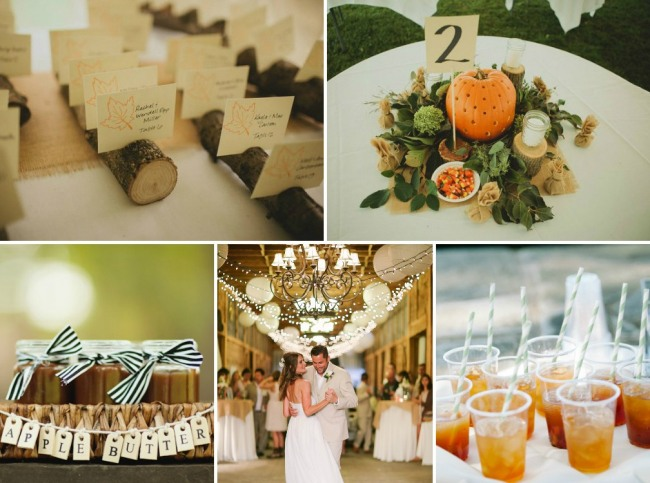 autumn wedding inspiration photos - pumpkin centerpiece, wood log table cards, homemade apple butter jars, and drinks