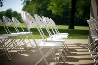 white plastic chairs at Firestone Metro Park Wedding