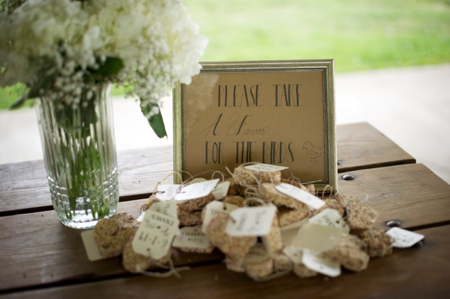 Bird feed shaped in a heart at guest favors at Firestone Metro Park Wedding