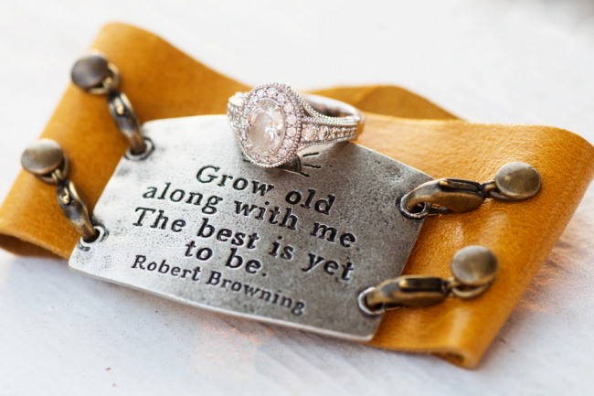 Grow old along with me. The best is yet to be bracelett with engagement ring
