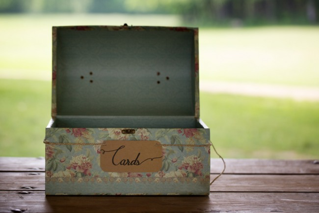 Blue vintage box for guest wedding cards at Firestone Metro Park Wedding