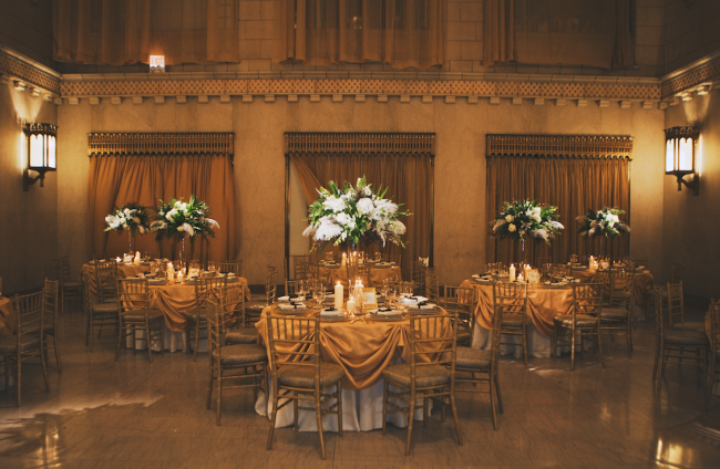 Wedding reception at the Pittsfield Building with gold and vintage theme