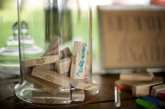 Jenga pieces signed by weding guests at Firestone Metro Park Wedding