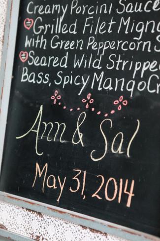 Chalkboard sign with wedding reception menu written for wedding reception