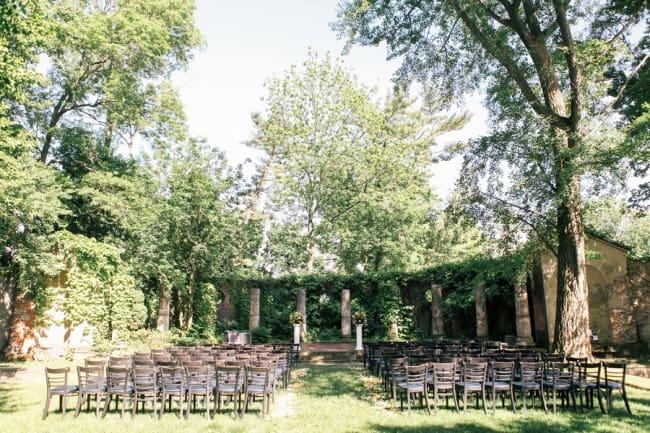 Outdoor wedding ceremony set up at Alder Manor House