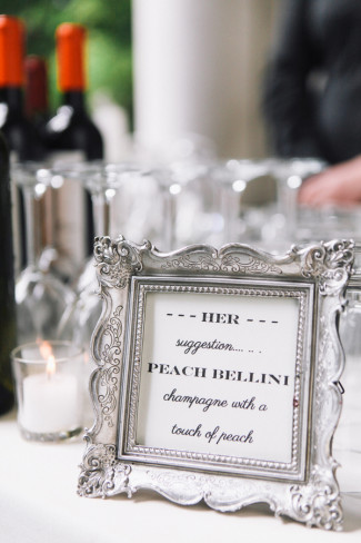 Silver frame with brides drink choice