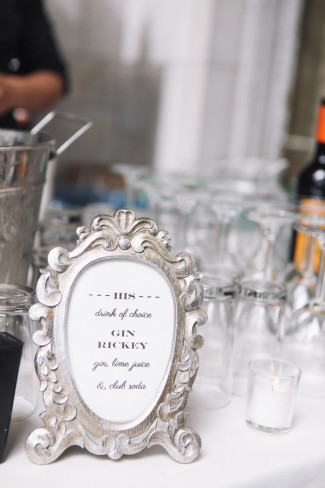 Silver frame with grooms drink choice written inside