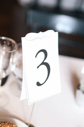 White table number at wedding reception table