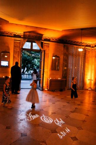 Alder Manor House dance floor with bride and grooms name displayed on floor