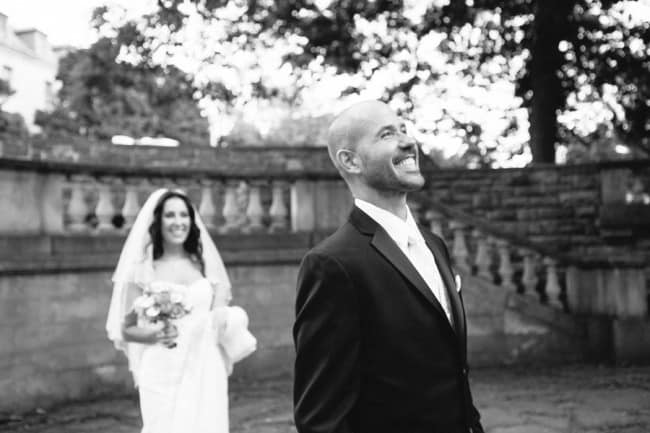 Bride walking up to groom for first look at Alder Manor House wedding