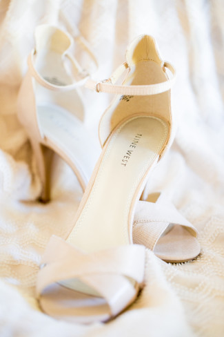 Cream Colored Nine West P Toe D Orsay Shoes With Ankle Strap For Bridal
