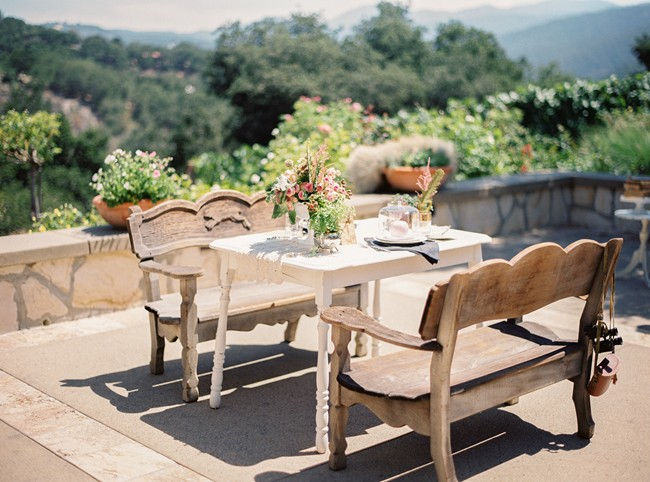 outdoor vintage patio furniture at whimsical woodland love styled shoot